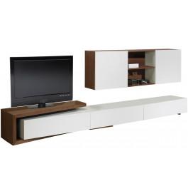 2465 - Composition design meuble TV laque et noyer 3 tiroirs