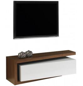 2468 - Banc TV design laque et noyer 1 tiroir