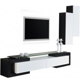 2470 - Ensemble TV design laque blanc et noir brillants