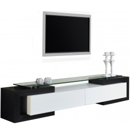 banc tv design laque blanc et noir brillants. Black Bedroom Furniture Sets. Home Design Ideas