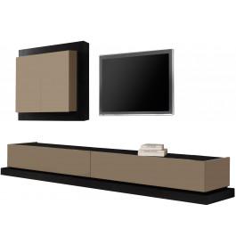 Composition Design Meuble Tv Laque Et Chene 2 Tiroirs Tous