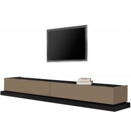 2479 - Banc TV design laque et chêne 2 tiroirs