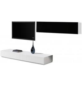 2480 - Ensemble TV design laqué blanc 1 porte 2 tiroirs