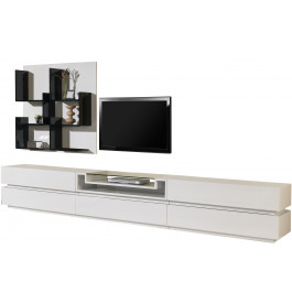 Composition design meuble tv laque blanc brillant 5 for Meuble tv bas blanc laque