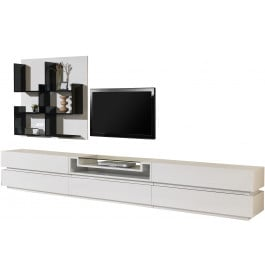 2484 - Composition design meuble TV laque blanc brillant 5 tiroirs