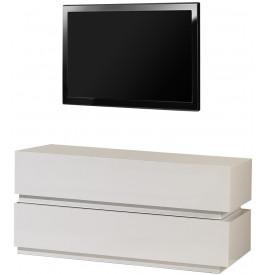 2488 - Banc TV design laqué blanc brillant 2 tiroirs