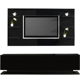 2493 - Composition design meuble laqué noir 2 portes
