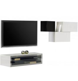 2497 - Composition design meuble TV 3 étagères laqué blanc