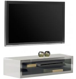 2501 - Banc TV design laqué blanc verre