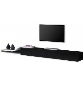 2503 - Composition design meuble TV laque et chêne 2 tiroirs