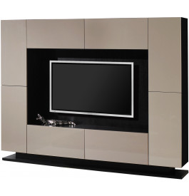 meuble tv design laqu taupe 4 portes 4 tiroirs. Black Bedroom Furniture Sets. Home Design Ideas
