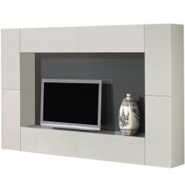2518 - Meuble TV design laqué gris 4 portes 4 tiroirs