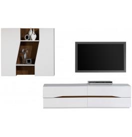 2528 - Composition design meuble TV laque et noyer 4 tiroirs