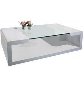 Table basse design laqué blanc plateau verre