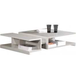 2553 - Table basse design laque gris brillant 2 niches