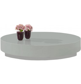 2556 - Table basse design ronde laque gris souris brillant