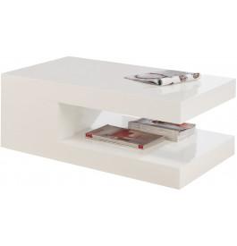 2558 - Table basse design laqué blanc brillant double plateau