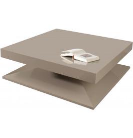 Table Basse Design Carree Laque Taupe Brillant