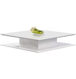 2567 - Table basse design carrée laque blanc brillant