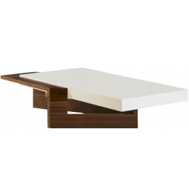 Table basse design plateau laqu blanc socle noyer table for Table basse laquee beige