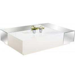 2573 - Table basse design laque blanc brillant miroirs