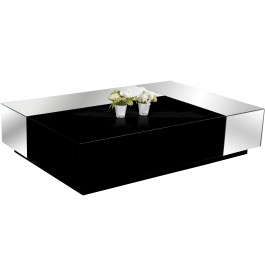 2575 - Table basse design laque noir brillant miroirs