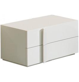 2591 - Chevet design laqué blanc brillant 2 tiroirs