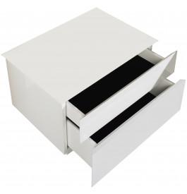 Chevet laqué blanc brillant 2 tiroirs
