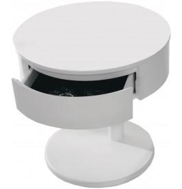 2611 - Chevet rond design laqué blanc brillant 1 tiroir