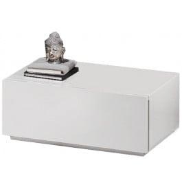 Chevet design laqu blanc brillant 1 tiroir for Table de chevet laque blanc brillant