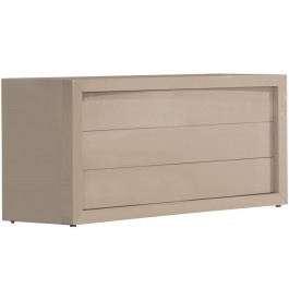 2638 - Commode design laque taupe brillant 3 tiroirs