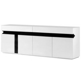 2642 - Buffet design laqué blanc 4 portes 2 tiroirs