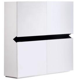 2645 - Meuble design laqué blanc et lumières 4 portes