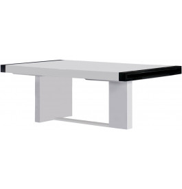 2648 - Table design rectangulaire 2 allonges laque blanc brillant