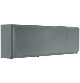 2655 - Buffet design laqué gris 4 portes 2 tiroirs