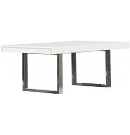 Table Rectangulaire Design L200 Blanc Pieds Inox
