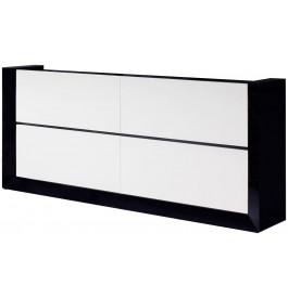 2674 - Buffet design laqué blanc et noir 4 portes