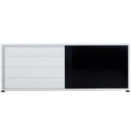 2677 - Buffet design laqué blanc 1 porte 4 tiroirs