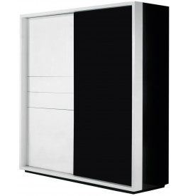 2679 - Meuble design laqué blanc 2 tiroirs porte verre