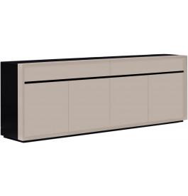 2681 - Buffet design laqué taupe 4 portes 2 tiroirs