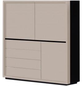 Meuble design laqu taupe 4 tiroirs 3 portes for Meuble 4 portes noir laque
