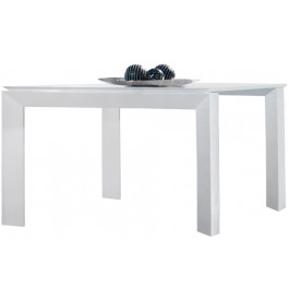 2685 - Table design carrée laque blanc brillant