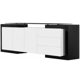 2693 - Buffet design laqué 3 portes 3 tiroirs plateau verre