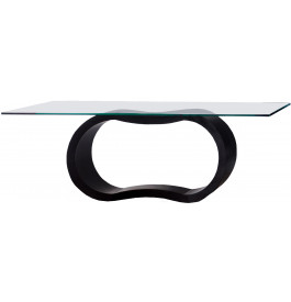 2696 - Table design laque noir brillant plateau verre