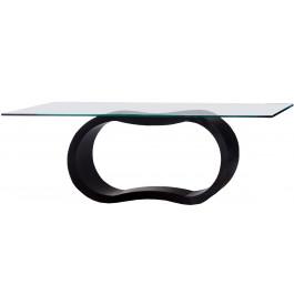 2696 - Table design laque noir brillant plateau verre