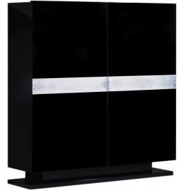 2701 - Meuble design laqué noir et aluminium 2 portes