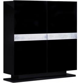 meuble design laqu noir et aluminium 2 portes. Black Bedroom Furniture Sets. Home Design Ideas