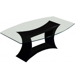 2703 - Table design laque noir brillant plateau verre arrondi