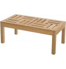 Table basse de jardin teck plateau sculpté