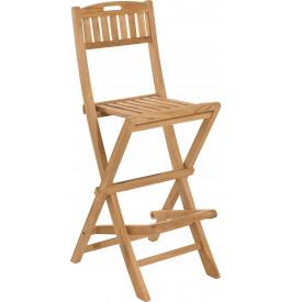 Chaise de bar haute teck pliante